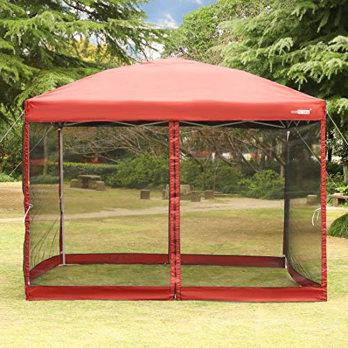 VIVOHOME 210D Oxford Outdoor Easy Pop Up Canopy Screen Party Tent with Mesh Side Walls Red 10 x 10 ft