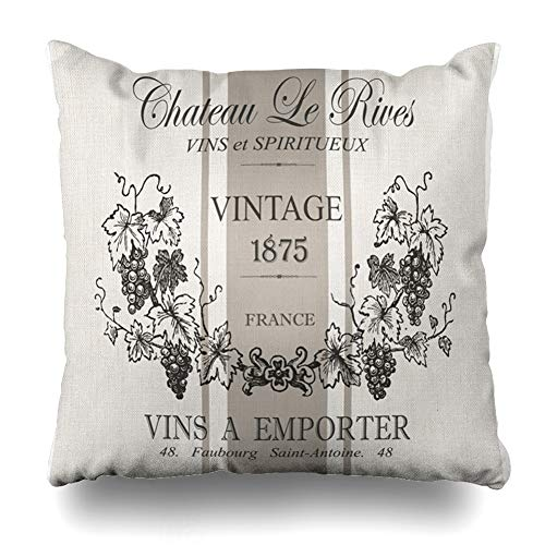 (InnoDIY Throw Pillow Covers Modern Vintage French Grain Sac Wine Pillowslip Square Size 16 x 16 Inches Cushion Cases Pillowcases)