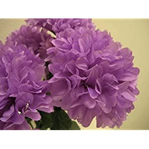 "Chrysanthemum Mum Ball Bush 10 Artificial Silk Flowers 19"" Bouquet 2302 Lavender 33"