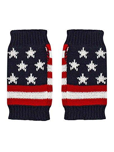 Flag Knit Fingerless Glove...