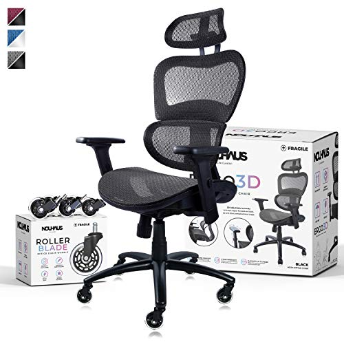 NOUHAUS Ergo3D Ergonomic Office Chair - Rolling Desk Chair with 4D Adjustable Armrest, 3D Lumbar Support and Extra Blade Wheels - Mesh Computer Chair, Gaming Chairs, Executive Swivel Chair (Black)