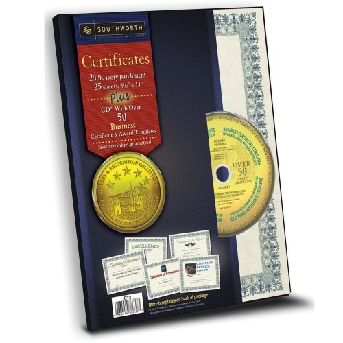 Southworth Parchment Paper Certificates with CD, 8.5 x 11 Inches, Green Border, 25 per Pack (CT3)
