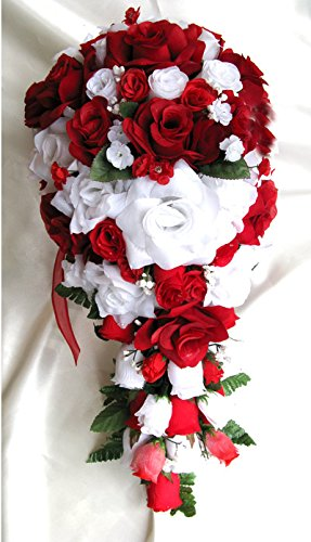 Amazoncom Wedding Flowers Silk Bridal Bouquet Red White Cascade 21
