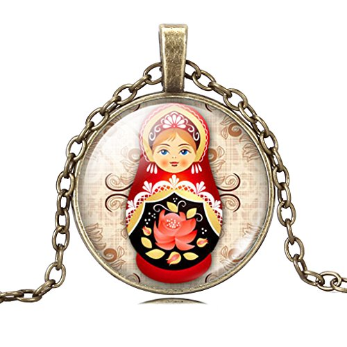 Stylish Russian Doll Toy Lotus Flower Art Pendant Adjustable Copper Chain Necklace for Women Girls