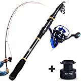 x pole starter kit - TROUTBOY Fishing Rod and Reel Combos Carbon Fiber Telescopic Fishing Pole with Reel Combo Kit for Outdoor Travel Saltwater Freshwater Fishing (2.1M/6.89FT Rod+ZM3000 Reel)
