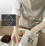 Linen 100% Premium Gift Chef Works Handmade Apron Japanese Style Cross Back Shape Cotton Apron-warm Grey Color