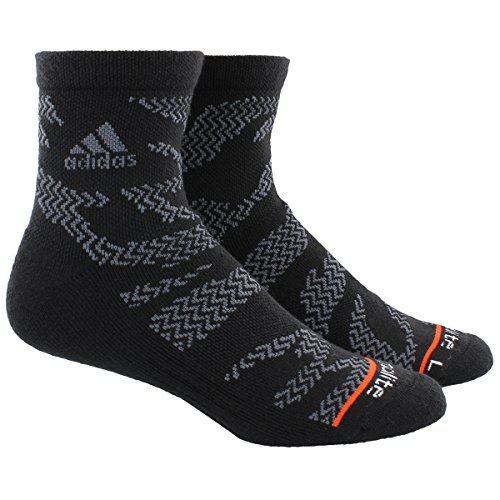 adidas Mens High Quarter Socks (2-Pack), Black Tiger Print/Onix/Energy Red, Large