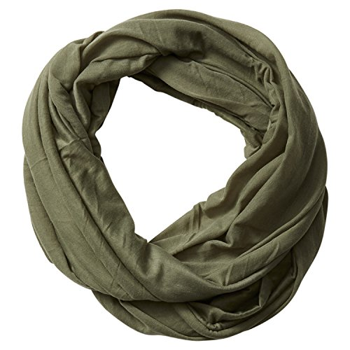 Tickled Pink Accessorie's Classic Solid Color Soft Lightweight Everyday Infinity Scarf, Olive Green 31x31