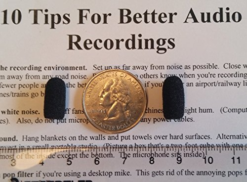 Compete Audio CM212 Mini Lavalier (tiny!) Black Foam Microphone Windscreens (Microphone Covers) 2-Pack For Countryman E6 and other Headset/Lapel Mics