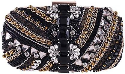 ハンドバッグ - ビーズイブニングバッグ、ドレスの宴会バッグ、ダイヤモンドクラッチ、対角線さんクラッチチェーン、財布 よくできた (Color : Black)