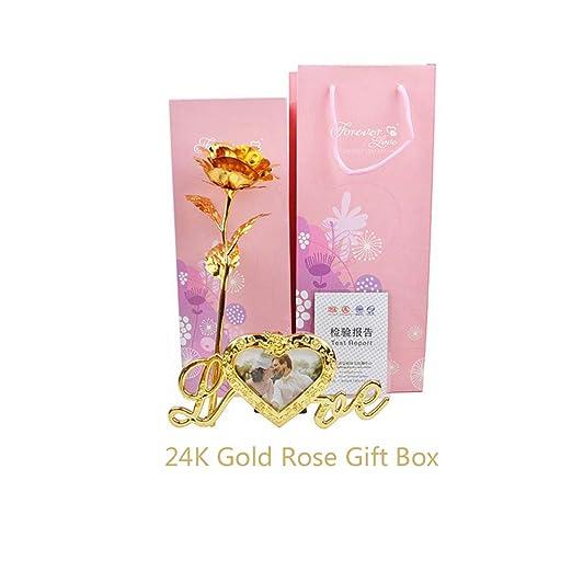 KDWLL Oro Rosa Flor 24k Soporte Madre Regalos de cumpleaños ...