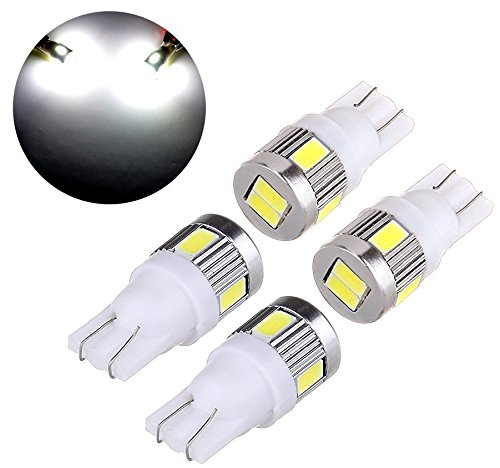 4Pk Extremely Bright 5730 Chipset LED Bulbs for Car Interior Lights License Plate Dome Map Side Marker Door Courtesy Wedge T10 W5W 168 192 194 2825 6000K Ultra White