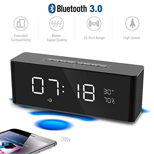 Multifunctional Desktop Wireless Bluetooth Speaker with Temperature Display, Phone Smart Speaker with USB Charging Ports LED Alarm Clock FM Radio Hands-free Calling Function, - Phone Wireless Bluetooth Speakers