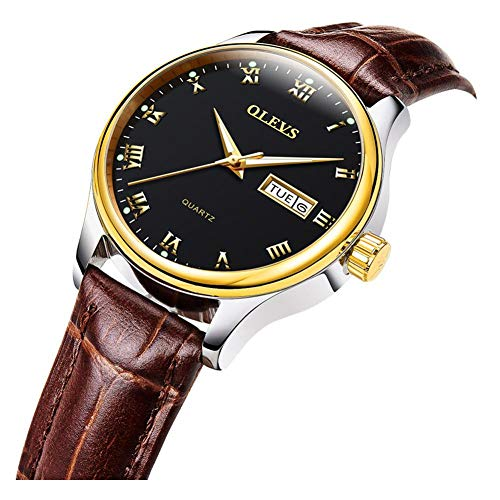 OLEVS Men's Big Black Dial Gold Bezel Business Casual Dress Luminous Quartz Watches with Day Date Calendar Roman Number Waterproof 3ATM with Brown Genuine Leather Band Strap