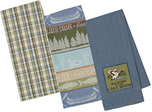 DII Lake House Welcome 3 Pc Towel Set - - One Each Embellished,