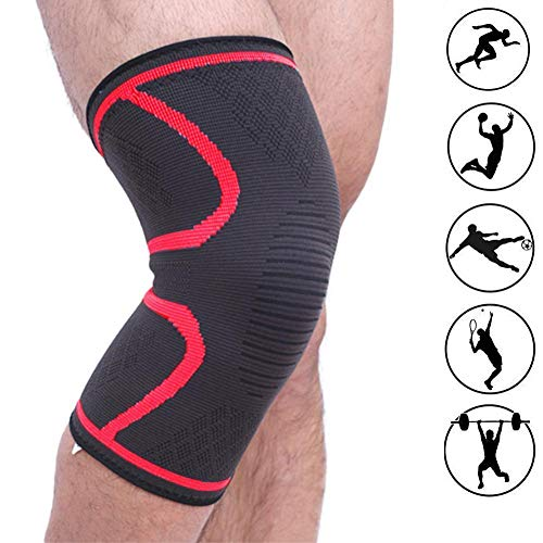 Spiral Red 17' (Bufccy Knee Brace Support Compression Sleeves, Wraps Pads for Arthritis, Running, ACL, Biking, Football, Joint Pain Relief, Faster Injury Recovery, Red)