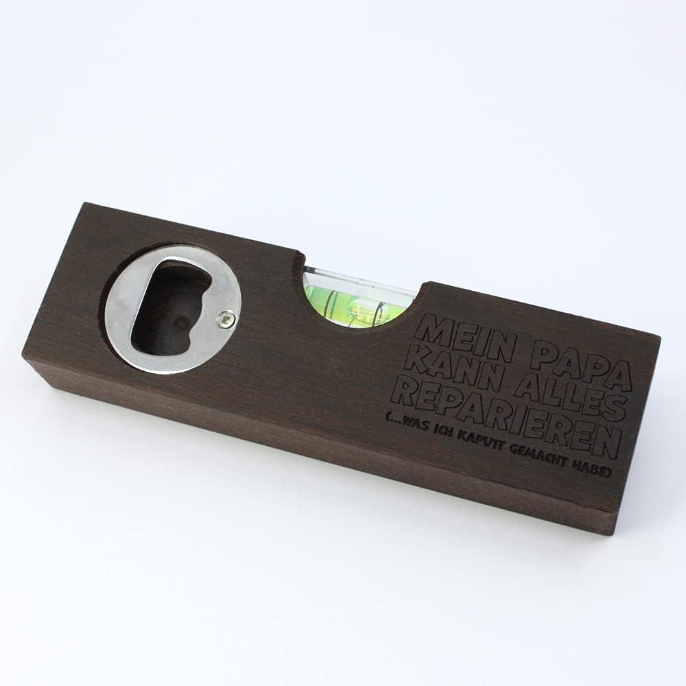 Diamandi Nivel de burbuja con grabado, incluye abrebotellas, para papá, regalo para padres, madera, 15 x 4 x 2 cm, con texto en alemán