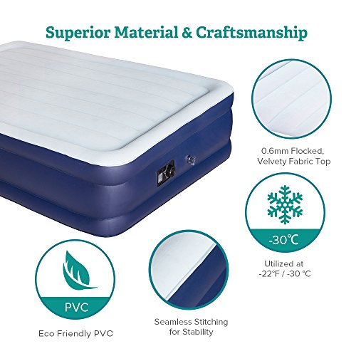 Sable Air Bed with Built-in Electric Pump, Raised Blow up Inflatable Air Mattress with Storage Bag, Height 18 Inches, Full Size by Sable (Image #4)