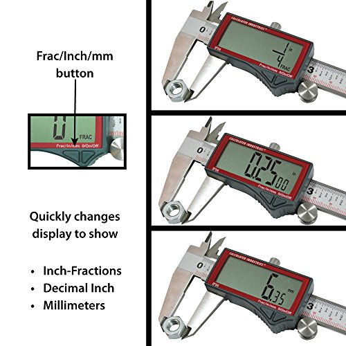 Calculated Industries 7408 AccuMASTER 6-Inch Digital Caliper; Fractional (1/64ths) + Inch + Metric with Largest Display Digits for Woodworkers, Stainless Steel, IP54 by Calculated Industries (Image #1)