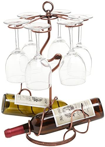 Amazon Com Mygift Tabletop Scrollwork Bronze Metal 2 Wine Bottle Holder Storage Rack 6 Glasses Stemware Display Stand Home Kitchen