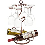 Freestanding Scrollwork Bronze Metal 2 Wine Bottles / 6 Wine Glass Stemware Storage Display Rack Stand For Sale