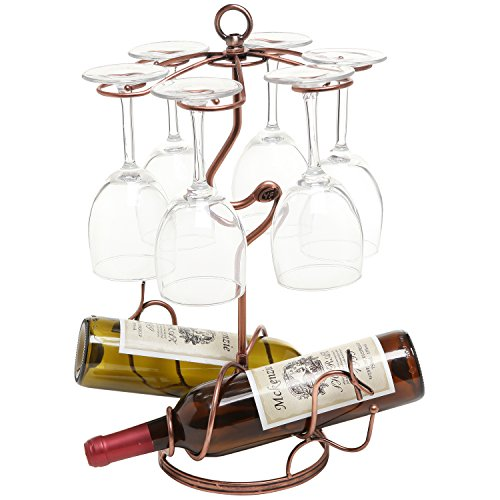 Freestanding Scrollwork Bronze Metal 2 Wine Bottles / 6 Wine Glass Stemware Storage Display Rack Stand ()
