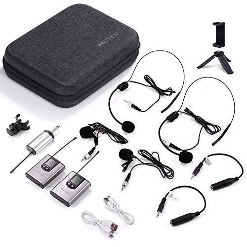"""Hotec Wireless Dual Headset Microphones/Lavalier Lapel Mics include Storage Case, Bodypack Transmitters and One Mini Rechargeable Receiver 1/4"""" Output, for Live Performances"""