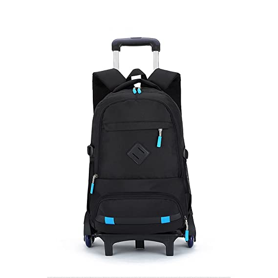 Mochila enrollable, LouisaYork, impermeable para la escuela, 6 ruedas extraíbles, con ruedas, mochila de viaje para niños y estudiantes azul azul ...