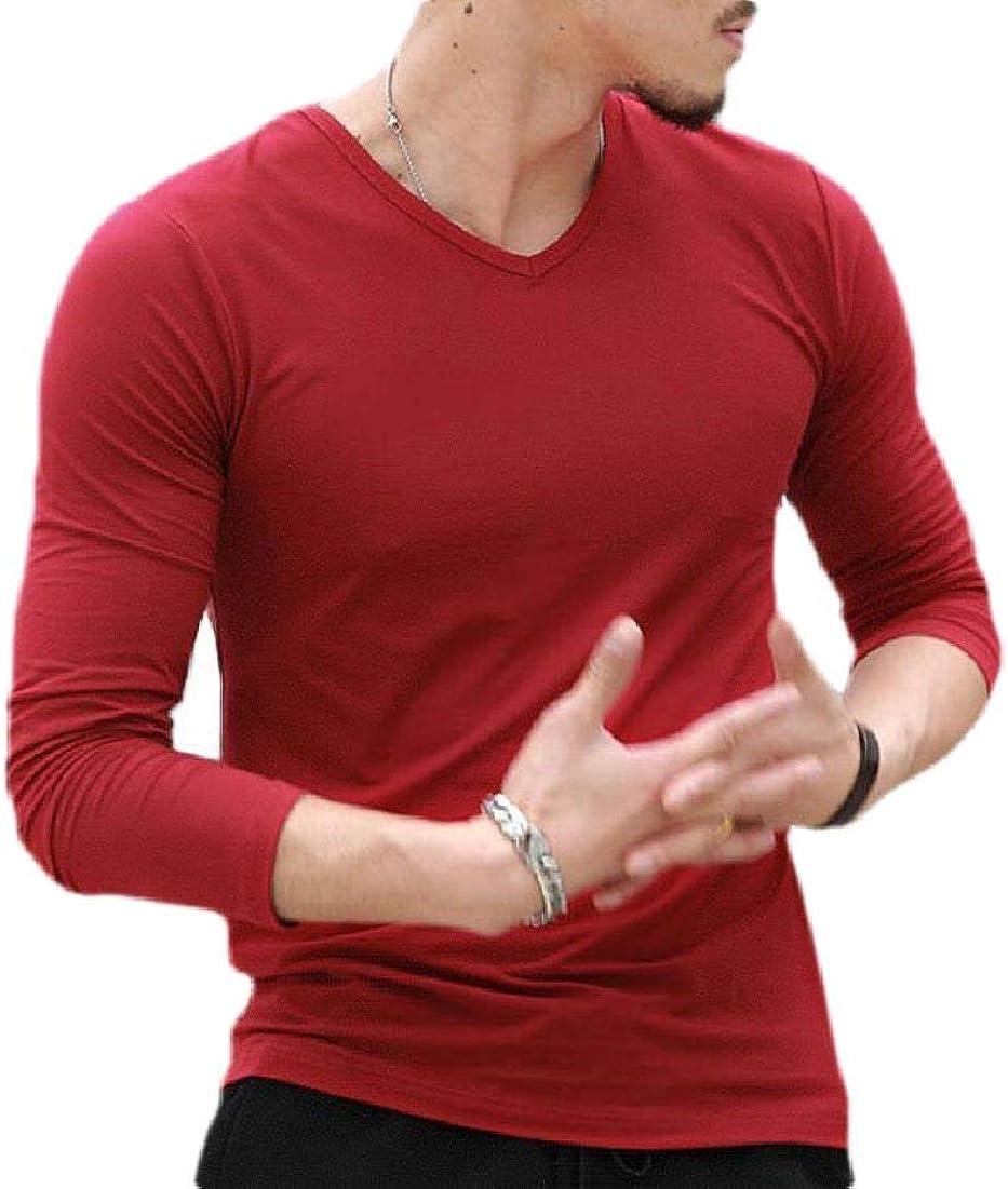 pipigo Men Fashion Long-Sleeve Shirts Plain Slim Fit V Neck Shirt Top Blouse