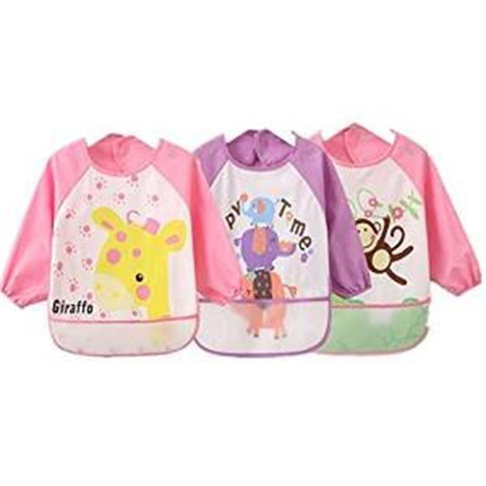 Oral-Q Unisex Kids Childs Arts Craft Painting Apron Baby Waterproof Bibs with Sleeves&Pocket, 6-36 Months,Pink,Set of 3 from Oral-Q
