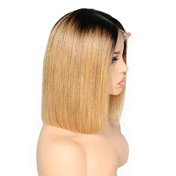 Amazon.com : XRS Hair Wig Ombre Color Lace Front Bob Human Hair Wigs for Women with Baby Hair Preplucked Hairline Straight Brazilain Human Hair Short Bob ...