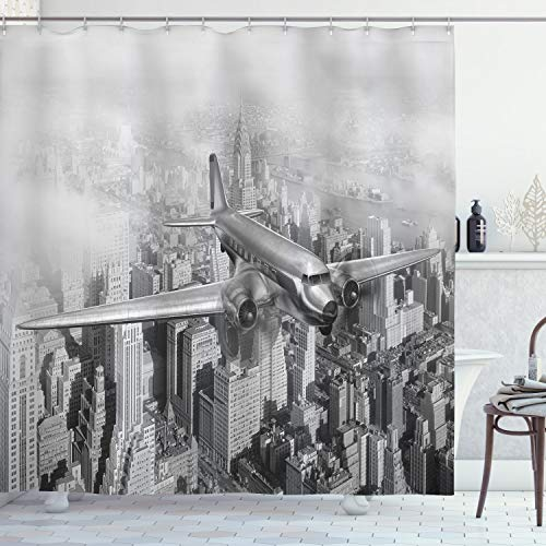 """Ambesonne Vintage Shower Curtain, Nostalgic Dated Plane Flying Over Skyscrapers in New York City Urban Life, Cloth Fabric Bathroom Decor Set with Hooks, 70"""" Long, Monochrome"""