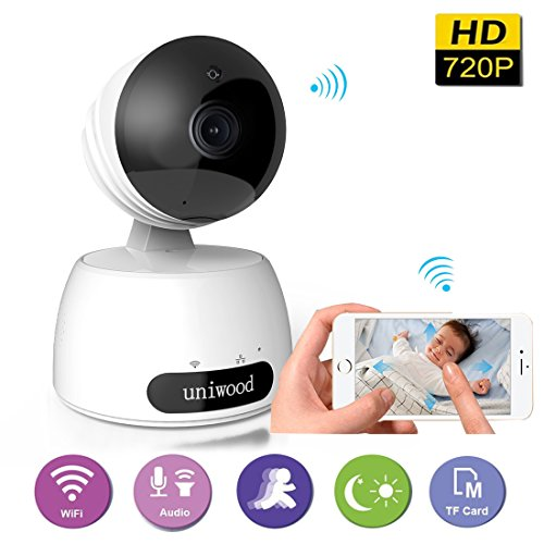 uniwood Wireless Security Camera, 720P Cloud Storage HD Home Surveillance Iphone Camera WiFi Baby Monitor Pan/Tilt Two way Talk Night Vision Pet Camera Motion Detection Alerts Xmas Gift