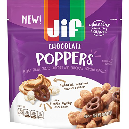 Jif Poppers Peanut Butter-Coated Popcorn and Chocolate Flavored Covered Pretzels, 6 Ounce, Chocolate