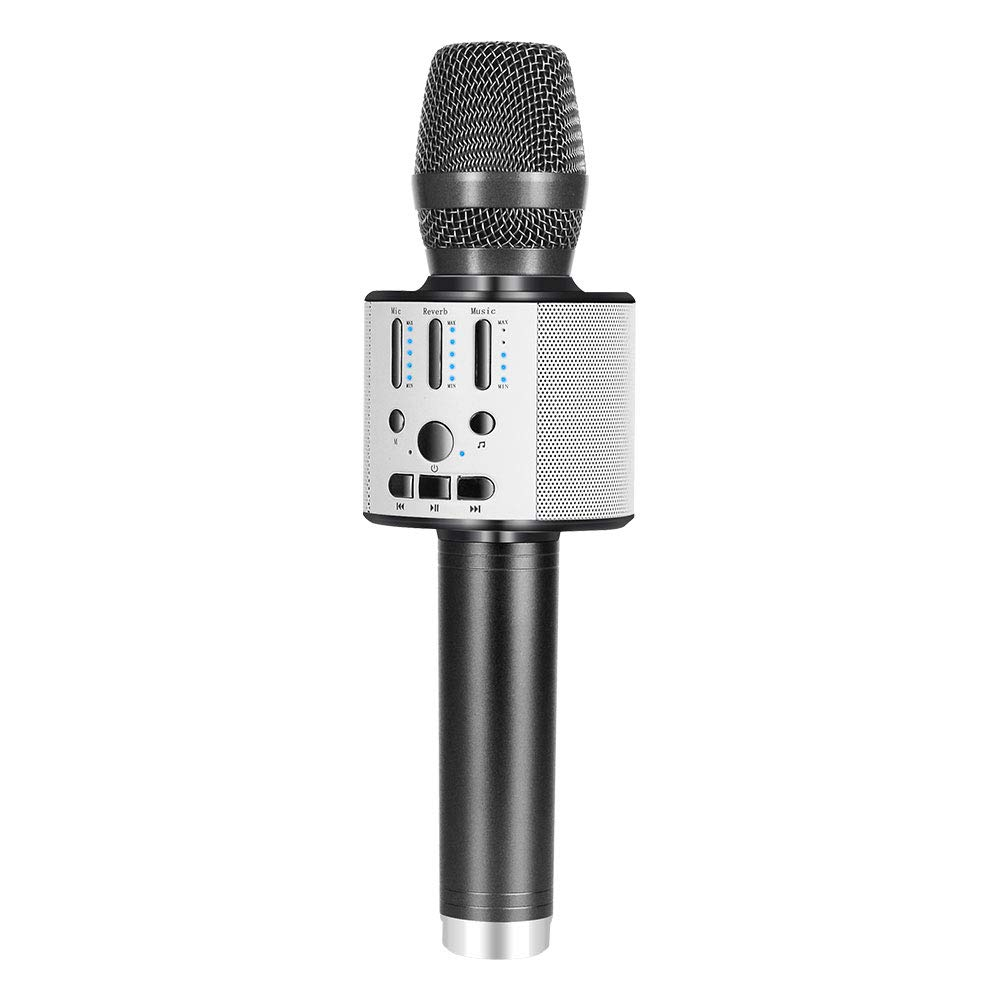 BONAOK 【2019 Upgraded 】Bluetooth Wireless Karaoke Microphone, Portable handheld Rechargeable Karaoke Machine Speaker with Stereo Sound Party Home Birthday Gift for all iPhone/Android/PC(Space Gray) 51suqpgDJ3L