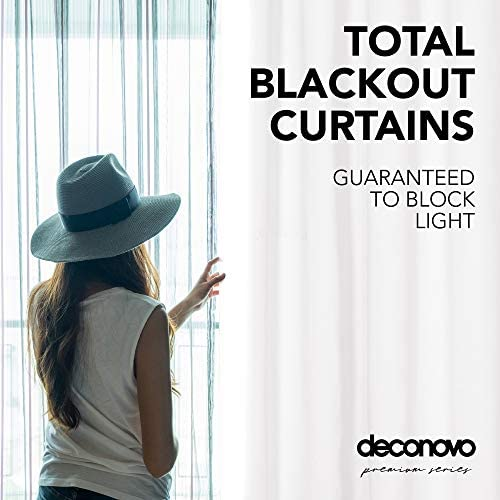 Deconovo 100 Blackout Curtains Thermal Insulated Noise Reducing Window Drapes Total Full Shading Fabric Block Out Sun Light