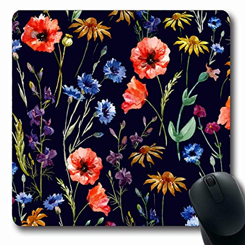 Ahawoso Mousepad for Computer Notebook Grass Floral Wildflowers Watercolor Poppy Cornflower Daisy Like Pattern Nature Painting Vintage Able Oblong Shape 7.9 x 9.5 Inches Non-Slip Gaming Mouse Pad