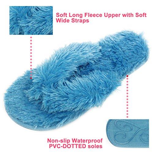 Pantofole Antinfortunistiche Casa Infradito Da Donna In Pile Morbida Infradito Perizoma Spa Blu