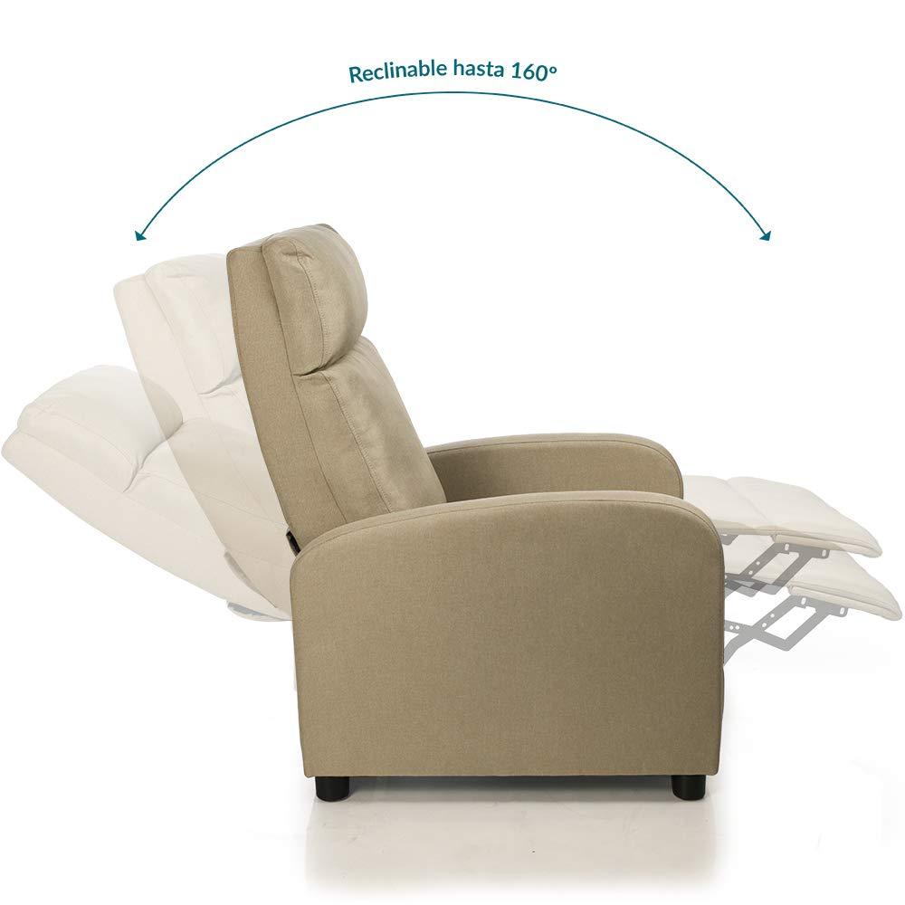 Don Descanso - Sillón Reclinable Tela Verona Beige, Sillón Relax con Reposapiés, Sistema de Apertura Push, Compacto, 2 Posiciones de Tumbada y ...