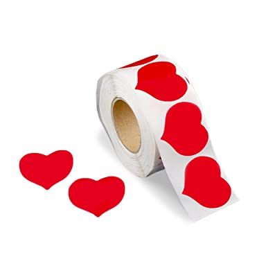 500 Large Red Heart Shaped Stickers on a Roll (1 Roll/500 Stickers): Kitchen & Dining