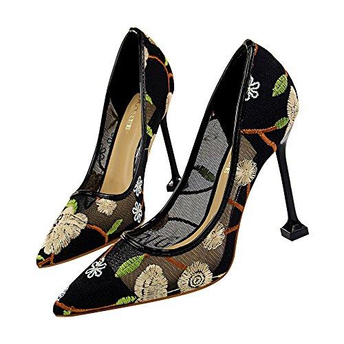 Minivog Donna Pizzo Scarpe Da Sposa Tacchi Alti Da Sera Party Dress Heel Pump Gold