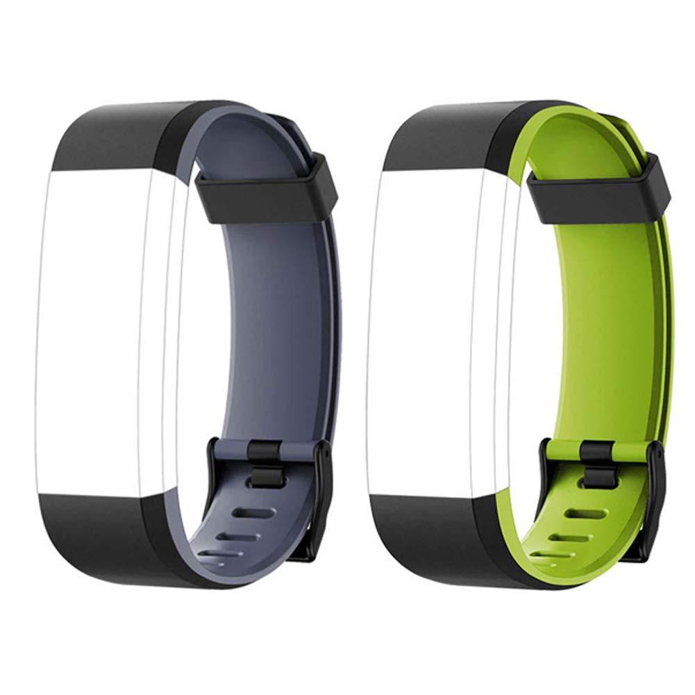 Lintelek Fitness Tracker Color Screen Heart Rate Sleep Monitor Pedometer, Waterproof Activity Tracker Fitness Alarm Watch 14 Sports Modes Men Women Kids (Black-Gray & Black-Green Replacement Bands)