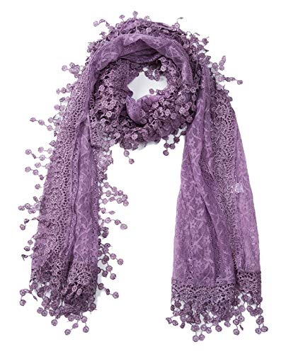 Women's lightweight Feminine lace teardrop fringe Lace Scarf Vintage Scarf Mesh Crochet Tassel Cotton Scarf for Women (Purple with Fringes)