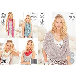 King Cole Womens Knitting Pattern Ladies Opium Easy Knit Scarf Snoods Poncho & Wrap 3685