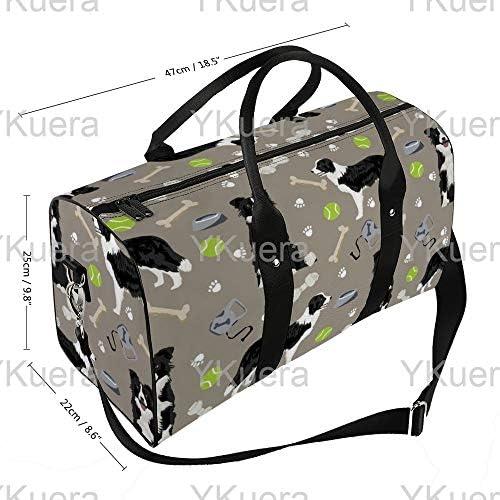 ボーダーコリーテニス中立1 旅行バッグナイロンハンドバッグ大容量軽量多機能荷物ポーチフィットネスバッグユニセックス旅行ビジネス通勤旅行スーツケースポーチ収納バッグ