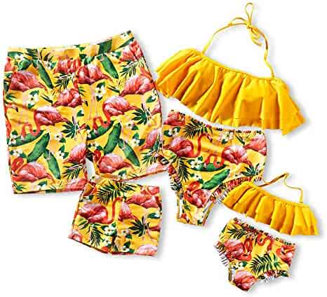 155ab3a0849d0b Yaffi Family Matching Swimsuit 2019 Newest Two Piece Bikini Set Ruffle  Bathing Suit Mommy and Me