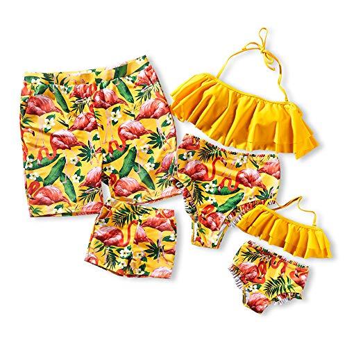 Yaffi Family Matching Swimsuit 2019 Newest Two Pieces Bikini Set Ruffle Bathing Suit Plaid Mommy and Me Beachwear (Men: M, Flamingo) (Matching Bathing Suits)