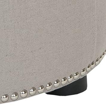 Safavieh Hudson Collection Zachary Linen Round Nailhead Ottoman, Beige