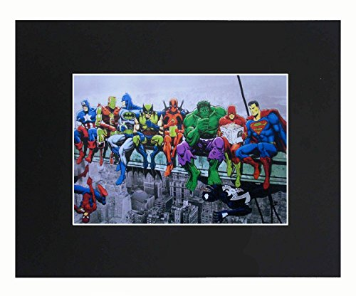 XQArtStudio Marvel Superheroes Superhero Superman Batman Spiderman The Hulk 8x10 Black Matted Art Artworks Print Paintings Printed Picture Photograph Poster Gift Wall Decor Display (Picture Superman)