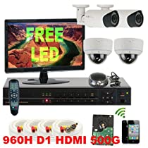 GW Security Inc 4CHP8 4 Channel H.264 960H & D1 Realtime DVR with 4 x 1/3 SONY CMOS 1000 TV lines Varifocal Lens Security Camera System, Free LED
